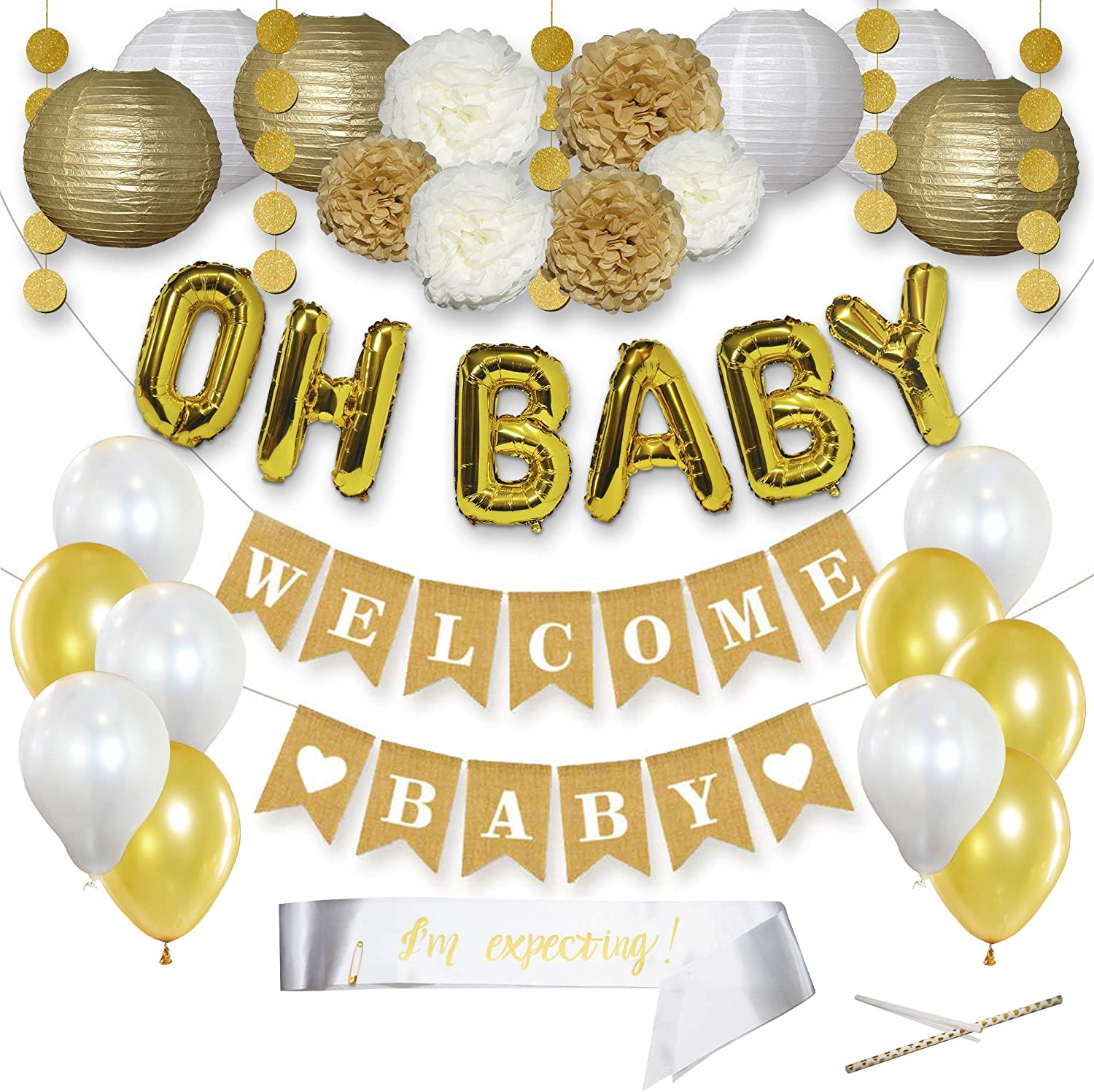 Gender Neutral Baby Shower Decorations, Sash, Balloons, Gold Letters Balloons, Banner, Pom Poms, Lanterns, Gold Party Decorations, Baby Shower Decorations for Boy, 32 Pieces