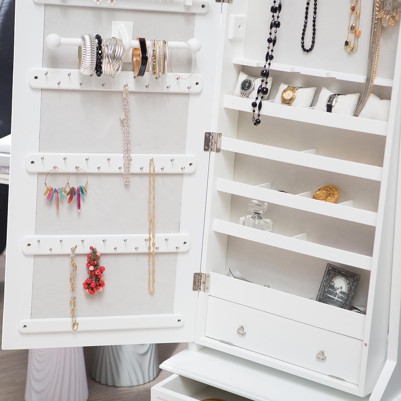 Amazoncom Swivel Cheval Jewelry Armoire in White Home Kitchen