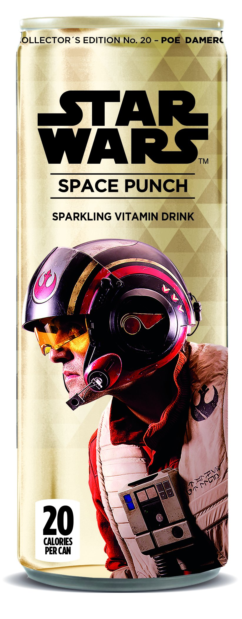 Star Wars Space Punch Sparkling Vitamin Drink, Collectors Edition No.18 - Poe Dameron Classic, 12 Oz. Cans (Pack of 12)
