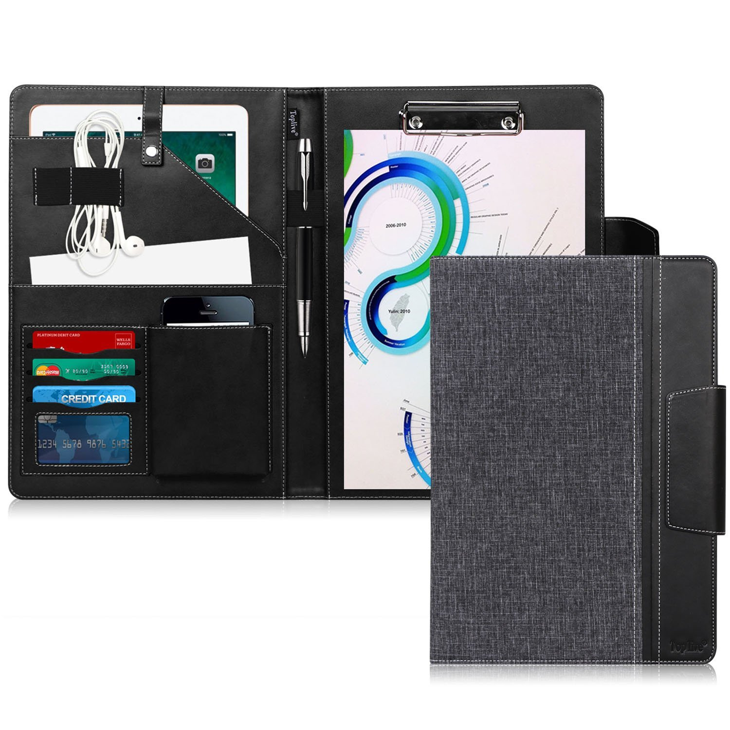 Toplive Portfolio Case Padfolio, Executive Business Document Organizer with Letter Size Clipboard, Business Card Holder, Tablet Sleeve(Up to 10.5'' Tablet), for Business School Office Conference, Black