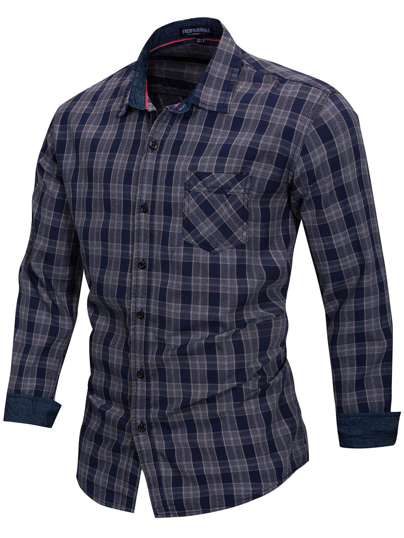 Neleus Men's Cotton Casual Plaid Long Sleeve Dress Shirt,160,Dark Blue,M,EU L