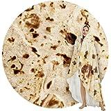 SeaRoomy Burritos Tortilla Throw Blanket, Tortilla Wrap Blanket, Novelty Tortilla Round Blanket Giant Tortilla Round Soft Bla