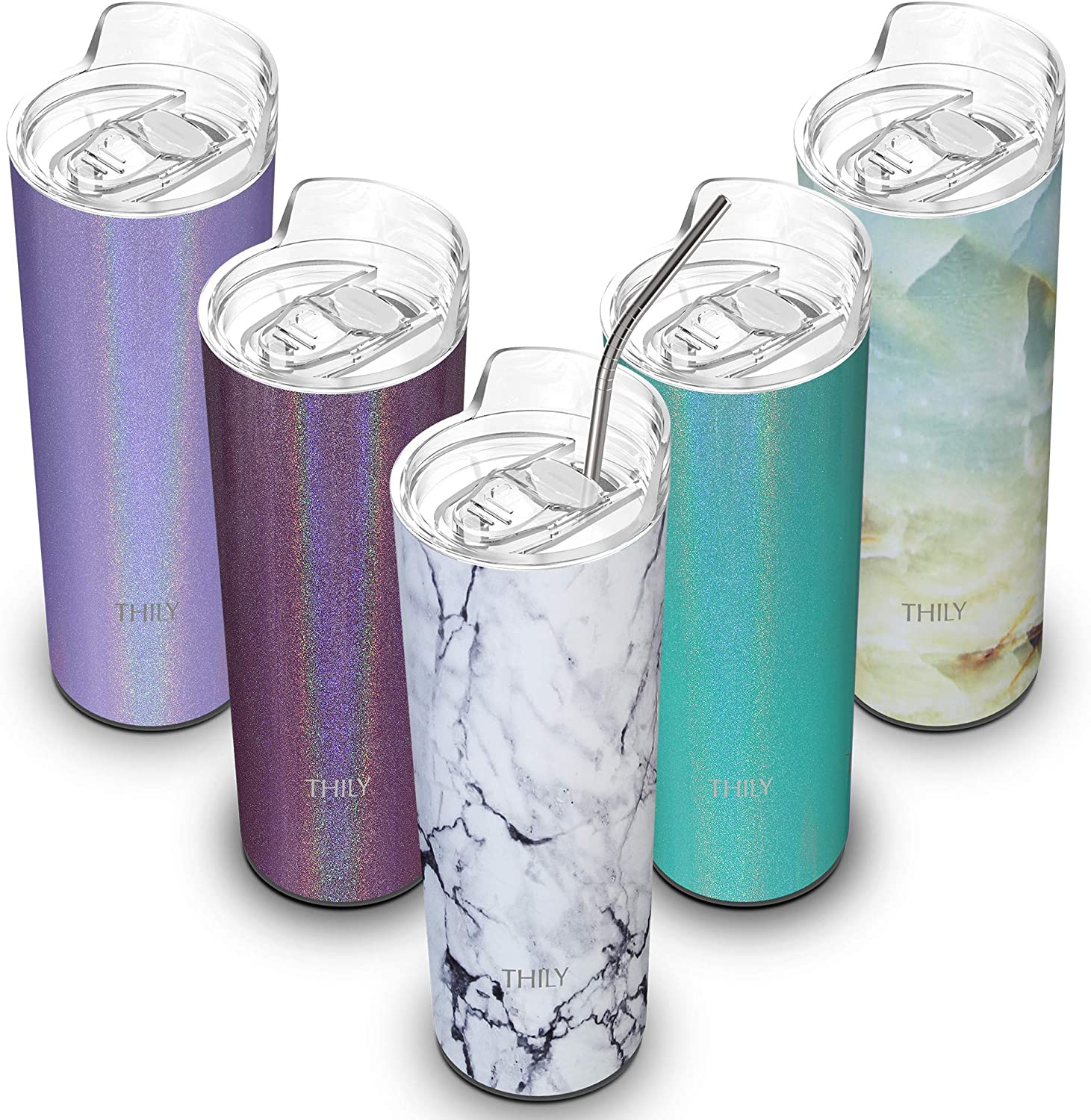 THILY 16 oz Travel Cup with Splash-proof Lid and Reusable Straw ...
