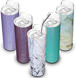 Stainless Steel Vacuum Insulated Tumbler - THILY 22 oz Travel Mug with Lid and Straw, Water Bottle, Keep Cold for Ice Coffee, Drinks, White Marble