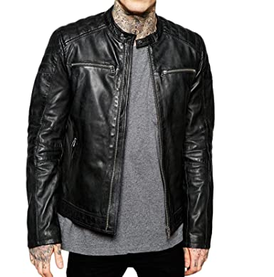 3ade2e7c7 Mens Leather Jacket Slim Fit Biker Motorcycle Genuine Cow Leather ...