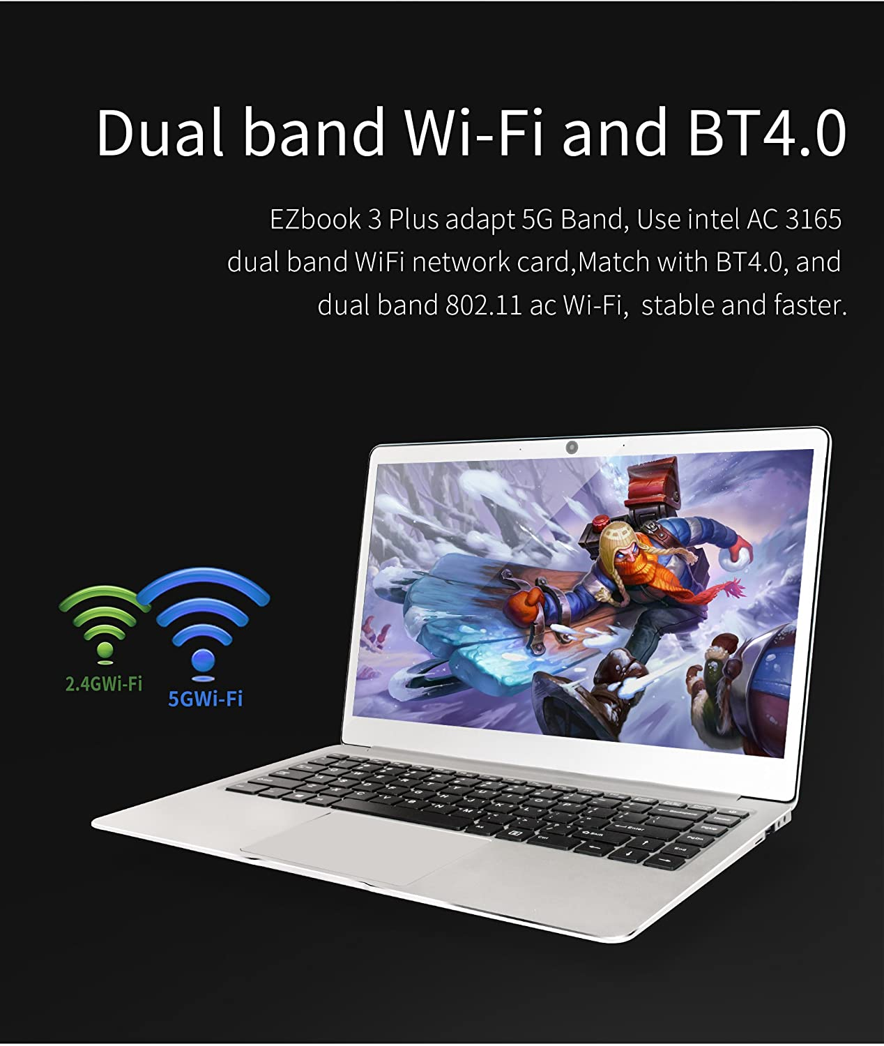 Amazon.com: Jumper EZbook 3 Plus 14 Inch Business Laptop Computer, Intel Core M3-7Y30 Up to 2.6Ghz 8G RAM 128G SSD WiFi 802.11 AC + BT4.0 Full Metal Case ...