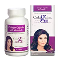 Colageina 10 Collagen Capsules with Vitamin C, 60 ct - Younger Look, Healthier Hair, and Stronger Nails. Improves Skin Elasticity and Joints and Reduces The Signs of Aging.