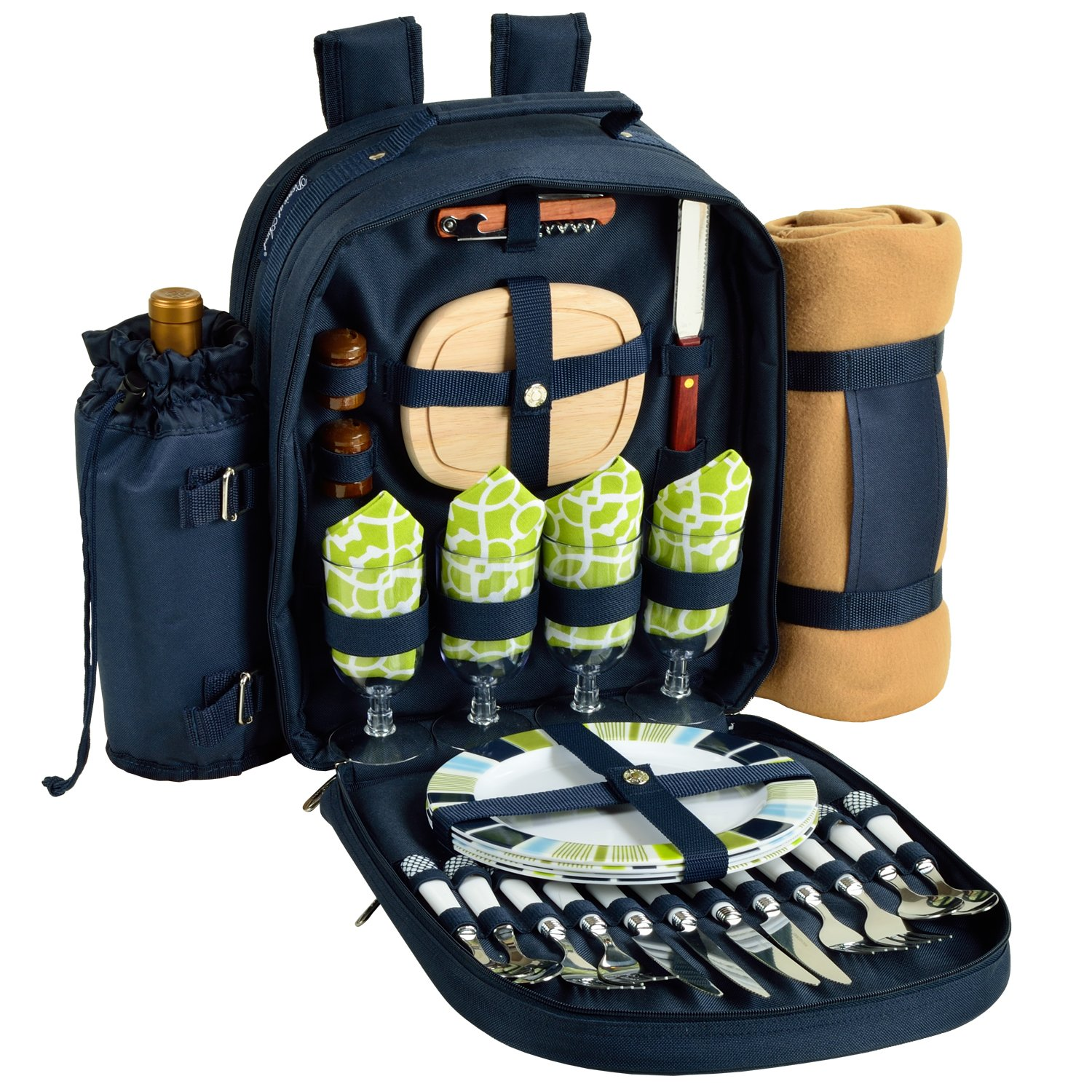 Picnic at Ascot - Deluxe Equipped 4 Person Picnic Backpack with Cooler, Insulated Wine Holder & Blanket - Trellis Green