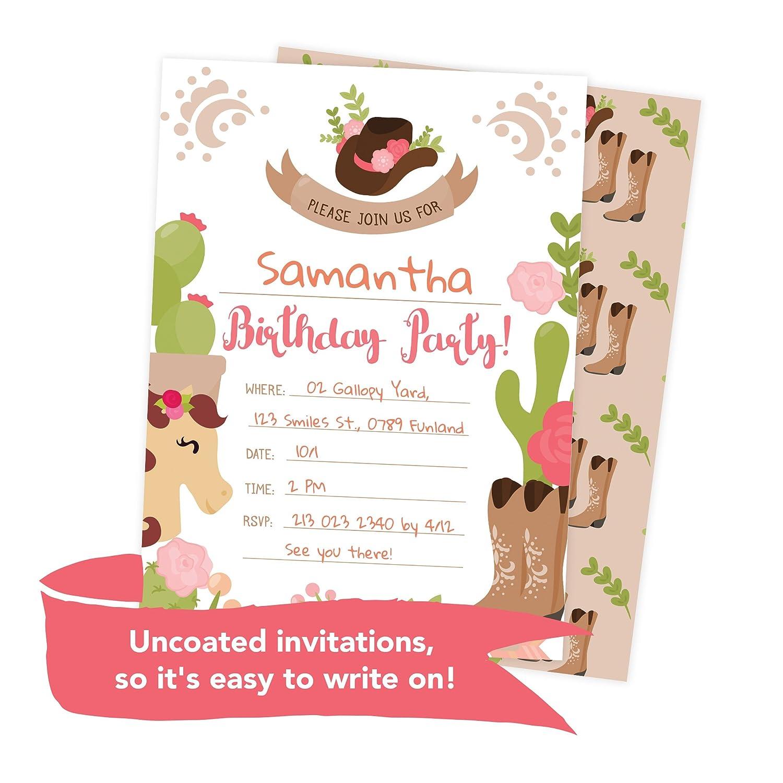 Amazon.com: Cowgirl Cow Girl Happy Birthday Invitations Invite Cards ...