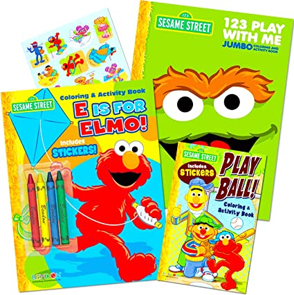 Amazon.com: Sesame Street Coloring Book Super Set ~ 3 Elmo Coloring Books,  Over 350 Coloring Pages Total With Stickers And Crayons: Toys & Games