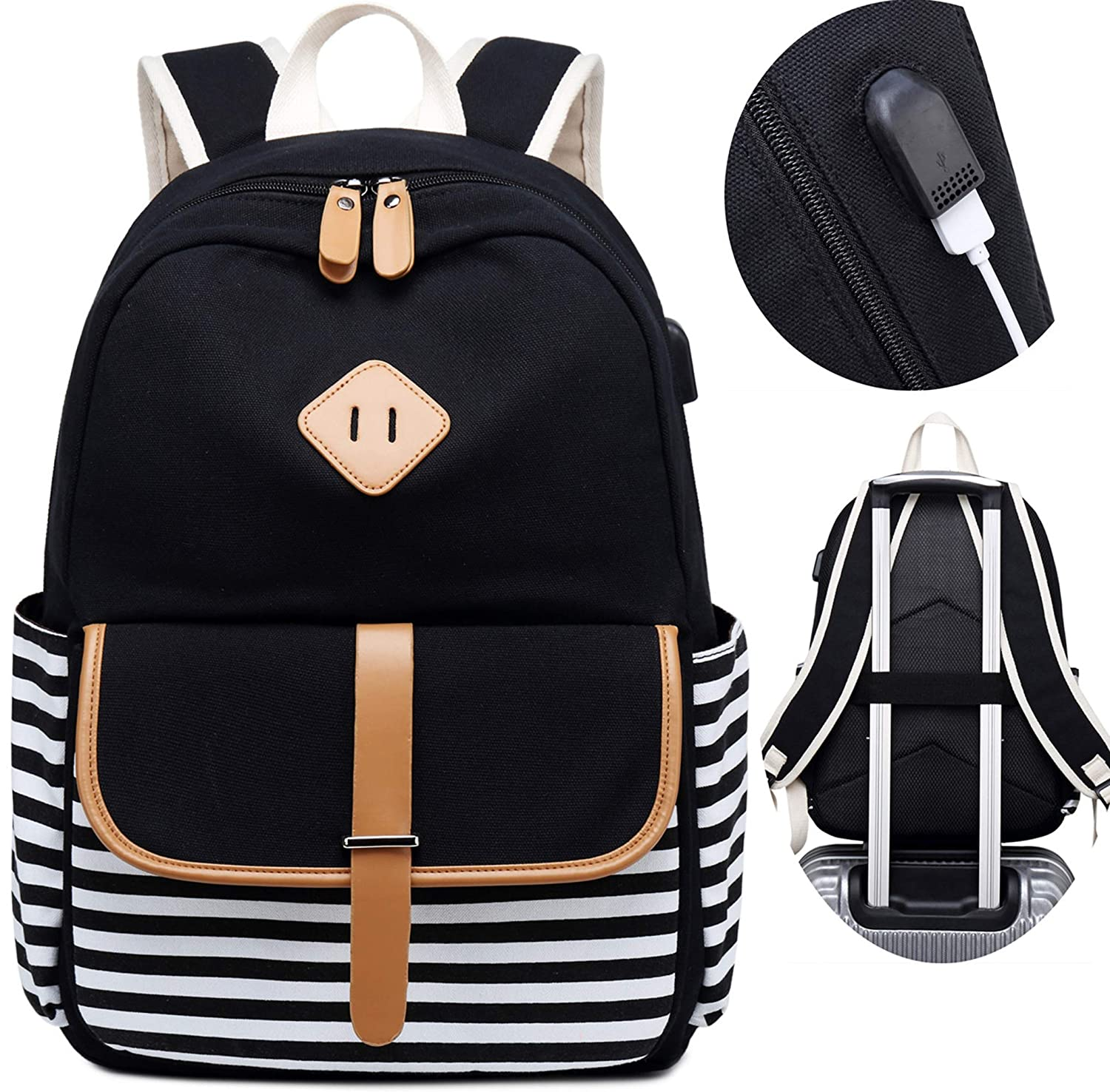 Travel Laptop Backpacks Womens Girls College School Backpack with USB Charger Port and over Luggage Trolley Sleeve Black