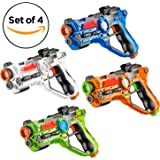 Set of 4 Infrared Laser Tag Guns, 4 Player Indoor and Outdoor Team Game - by Toydaloo (Orange, Green, Blue, White)