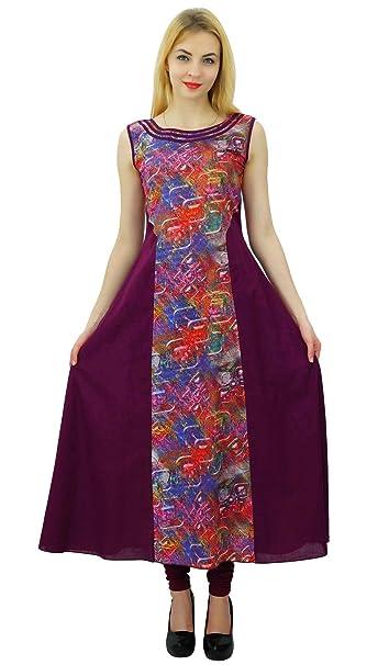 07b74564f65efe Phagun Women Sleeveless Designer Kurti Cotton Ethnic Anarkali Kurta Casual  Dress at Amazon Women s Clothing store