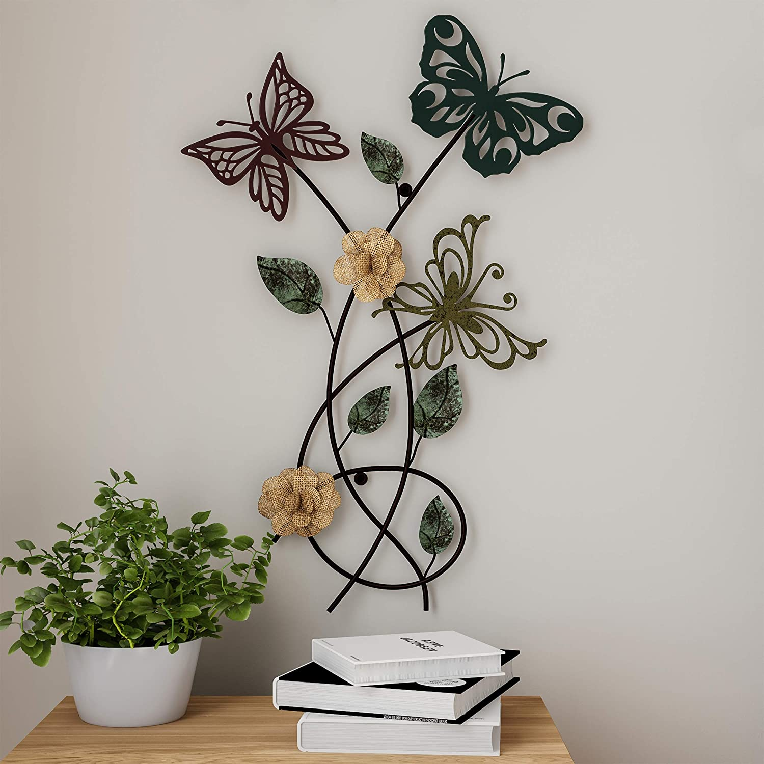 Lavish Home Garden Metal Wall Art Hand Painted 3D Butterflies/Flowers for Modern Farmhouse Rustic Home or Office Decor