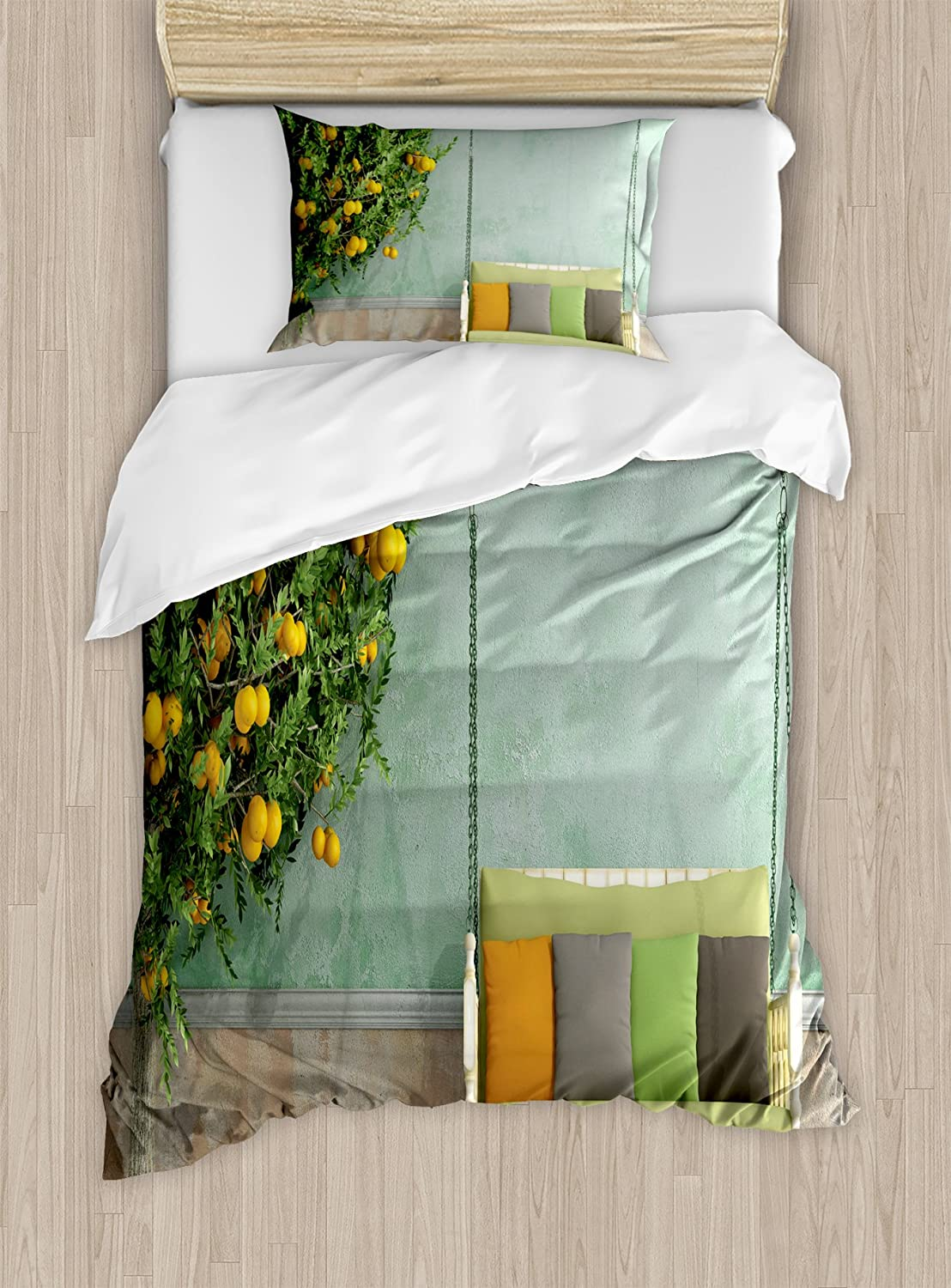 B0756DKM3D Ambesonne Garden Duvet Cover Set, Vintage Wooden Swing in The Garden of an Old House with a Lemon Tree Summertime, Decorative 2 Piece Bedding Set with 1 Pillow Sham, Twin Size, Yellow Green 81aO4cNvXWL.SL1500_