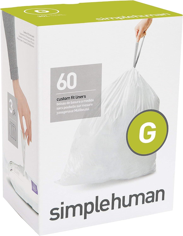 simplehuman, 3 x paquete de 20 bolsas de basura a medida (60 bolsas), código G, plástico blanco