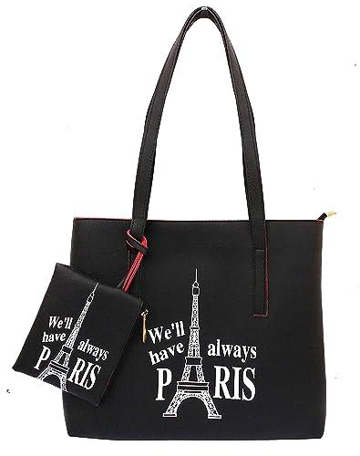 fe10323e193 ONLINE FASHION BAZAAR PU Leather Black Girls  Tote Bag  Amazon.in  Shoes    Handbags