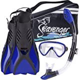 Seavenger Advanced Snorkeling Combo with Broad View Single Lens Mask