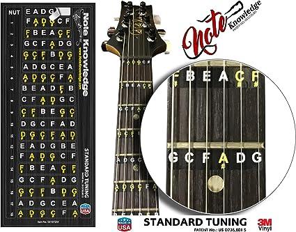 Pegatinas para aprender a tocar el diapasón de la guitarra: Amazon ...
