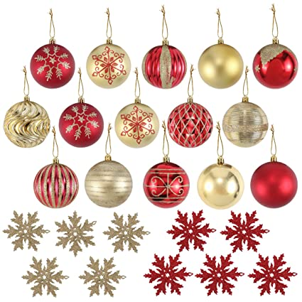 joiedomi 25 pack of christmas ball ornaments set for christmas tree decoration include 15 red - Red And Gold Christmas Decorations