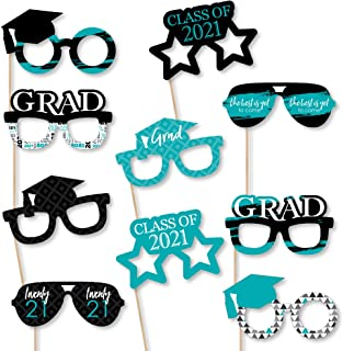 product image for Big Dot of Happiness Teal Grad Glasses - Best is Yet to Come - Turquoise 2021 Paper Card Stock Graduation Party Photo Booth Props Kit - 10 Count