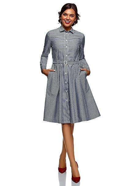 8fe3a9c4b2d oodji Ultra Mujer Vestido Midi de Algodón con Botones  Amazon.es  Ropa y  accesorios