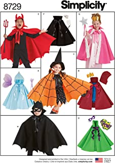 product image for Simplicity 8729 Child's Cape Costume Sewing Pattern, 8 Pieces, Sizes S-L