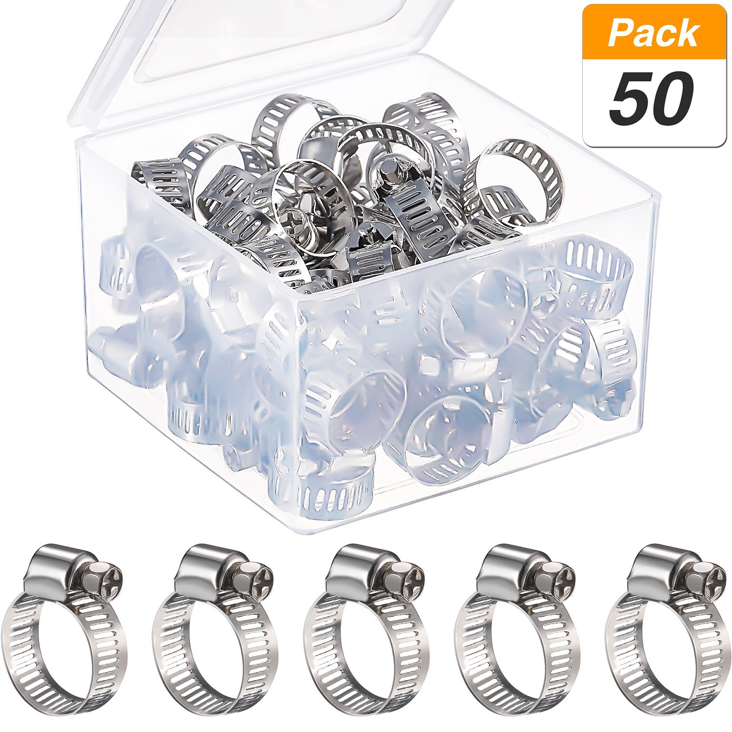 Jovitec 50 Pieces 9-16 mm Adjustable Stainless Steel Worm Drive Pipes Hose Clamps Clips with Storage Box