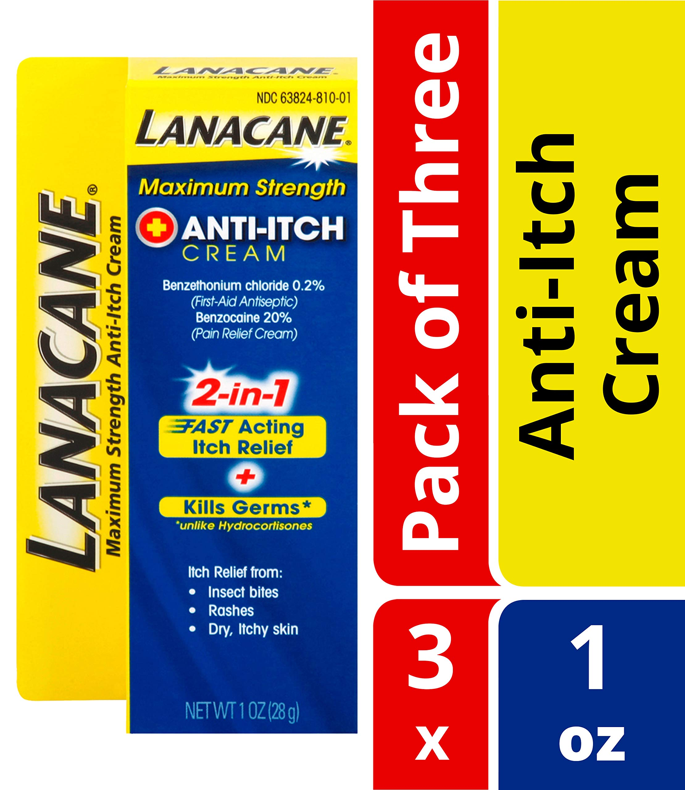 Lanacane Maximum Strength Anti-itch Cream- Antiseptic For Fast-acting Itchy Skin Relief From Insect Bites, Rashes & Dry Skin, Cools & Soothes For Instant Relief, With Benzocaine, 1 oz. (Pack of 3) by Lanacane