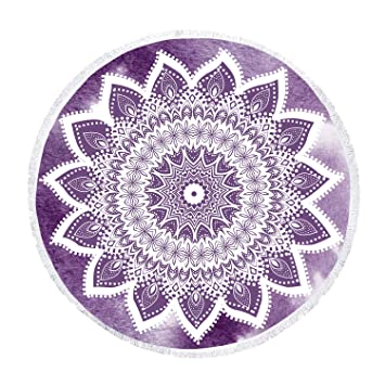 Zeronal Beach Towel Round Roundie Sfumato Design Stylish Beach Throw Picnic Blanket Yoga Mat Tapestry Mandala Wall Hanging Hippie Bohemian Dorm Decor