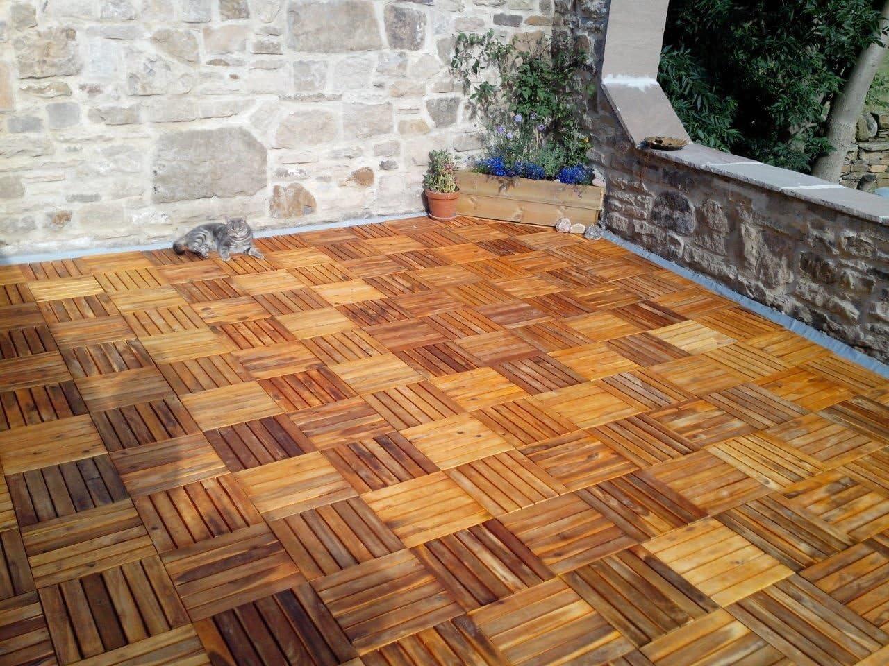 Balcony Hardwood Decking Tiles Patio 12 x Hardwood Tiles Click-Deck Roof Terrace Hot Tub Deck Tiles Flooring Decking