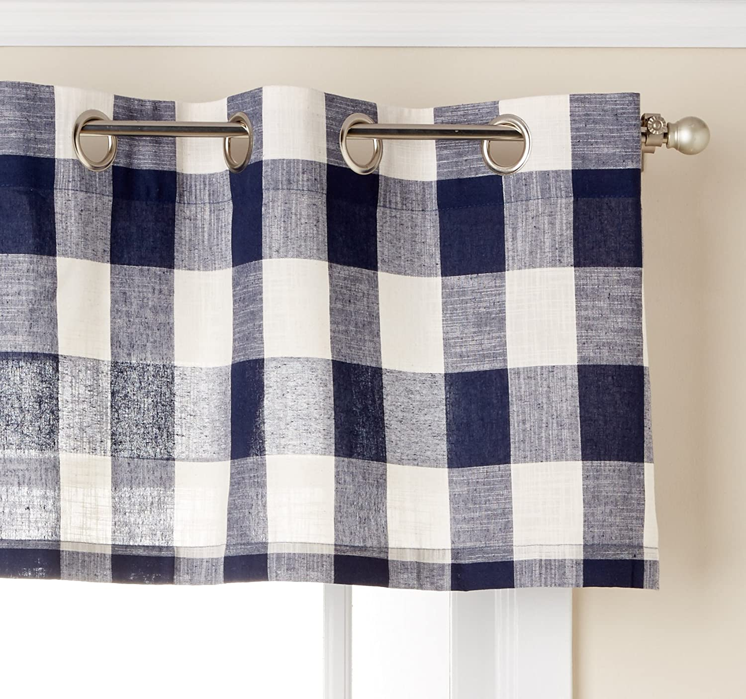 Lorraine Home Fashions 09570-V-00146 BLACK Courtyard Grommet Window Curtain Valance, Black, 53 X 18 53 X 18