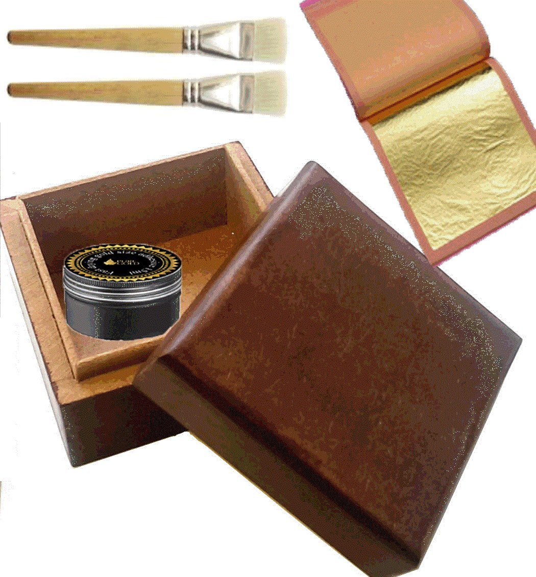 24CT Gold leaf Gilding Kit- 20 Gold sheets, adhesive and brush PURE GOLD 00078