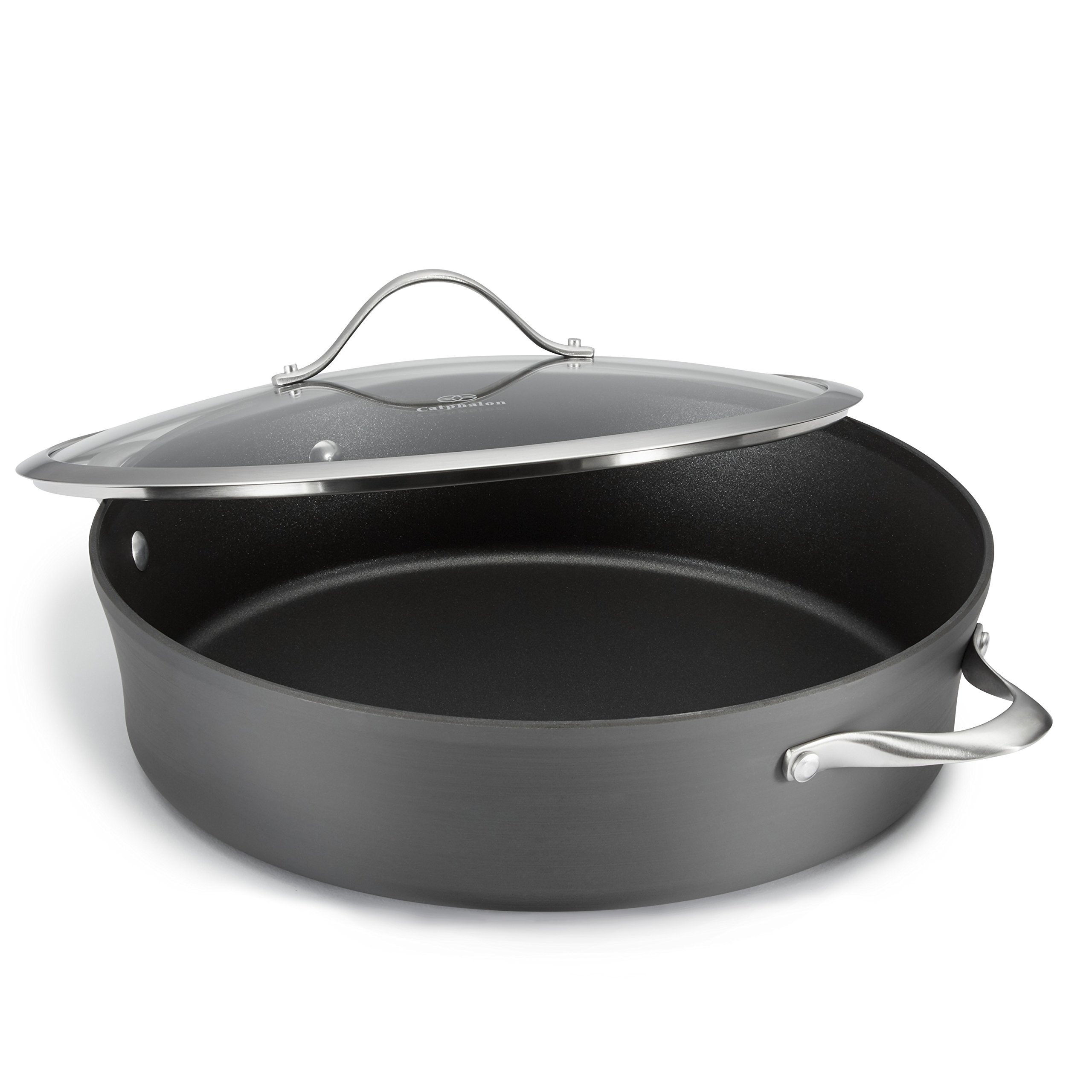 Calphalon Contemporary Hard-Anodized Aluminum Nonstick Cookware, Sauteuse Pan, 7-quart, Black by Calphalon (Image #2)