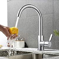 Amzdeal Robinet de cuisine mitigeur rotatif 360° noyau filtre en laiton évier double auge salle de bain lavabo bec haut filtrer les impureté bon pour santé