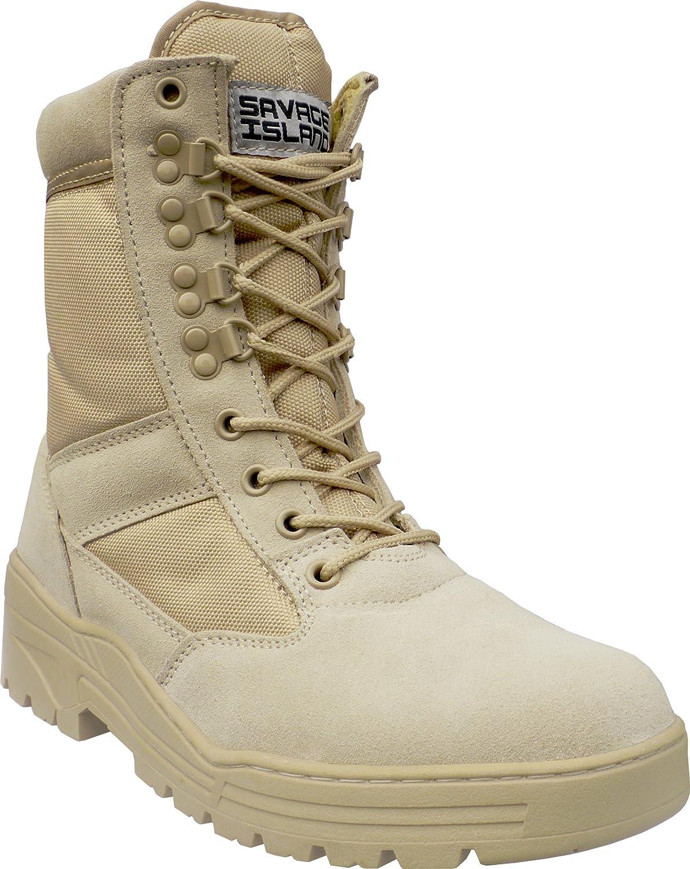 601607b73a Savage Island Stivali in Pelle Scamosciata Color Cuoio Leggeri da  Combattimento Militare e Deserto