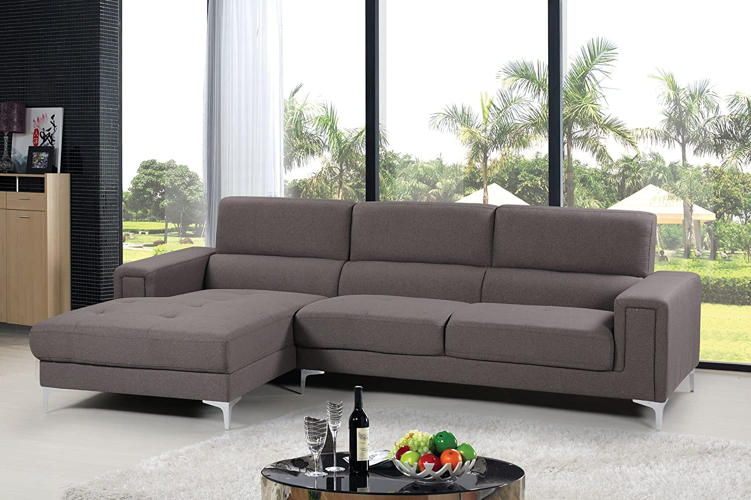Amazon com container furniture direct sydney collection mid century upholstered linen fabric sectional sofa left facing chaise grey kitchen dining