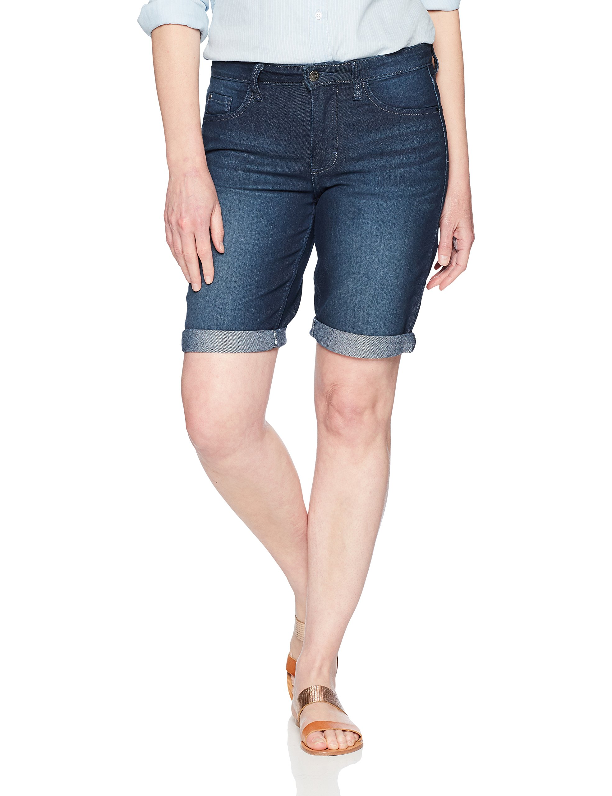 Riders by Lee Indigo Women's Rolled Cuff Midrise Denim Bermuda Short with 10'' Inseam, Dark Wash, 14 AVG