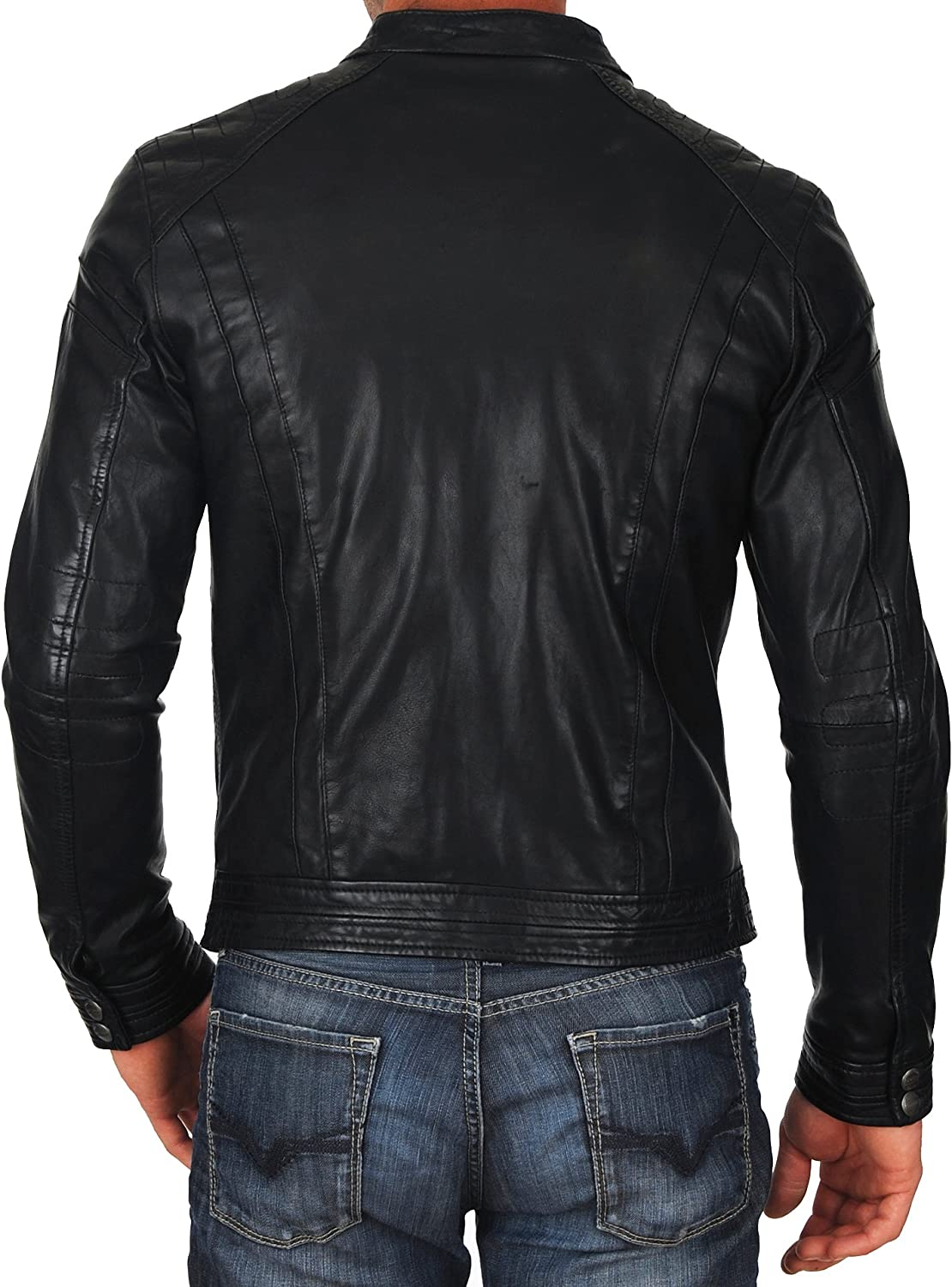 Kingdom Leather Mens Genuine Cow Leather Jacket Slim Fit Biker Motorcycle Jacket XC208
