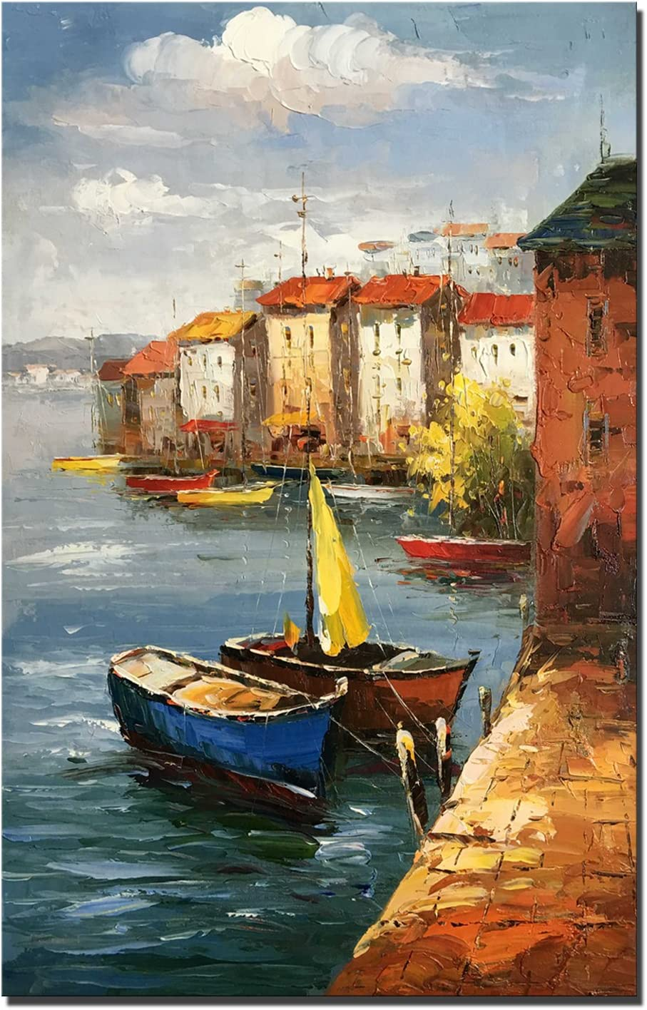 100/% dipinto a mano pittura a olio 60x90cm DL3342, 60/_x/_90/_cm Mediterraneo citt/à pittura ad olio paesaggio dipinto su tela mare barca decorazioni per soggiorno