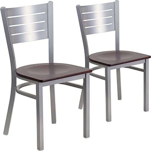 Flash Furniture 2 Pk. HERCULES Series Silver Slat Back Metal Restaurant Chair