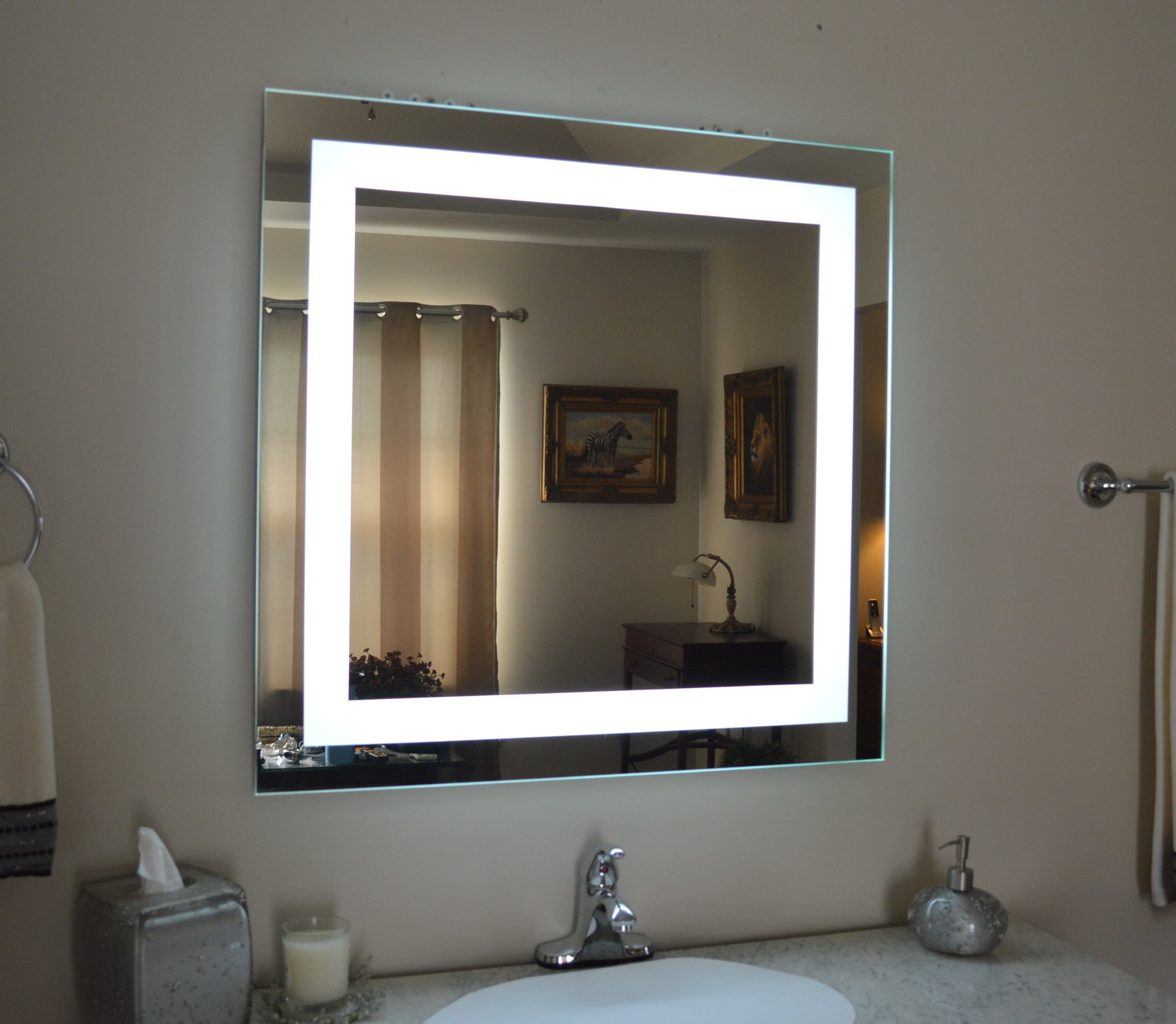 Wall Mounted Lighted Vanity Mirror MAM83232 Commercial Grade 32''x32''
