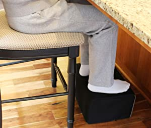 """InteVision Extra Large Foot Rest - Foam Cushion with Non-Slip Nylon Cover (17.5"""" x 12"""" x 8"""") – Designed to Support Your Legs & Feet Comfortably While Sitting on a bar Stool or Counter Height Chair"""