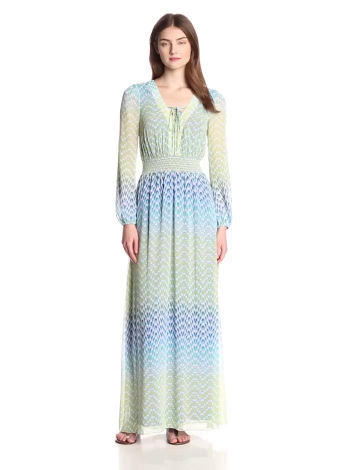 Jessica Simpson Women's Long Sleeve Peasant Printed Maxi Dress, Suzanne Print, 6