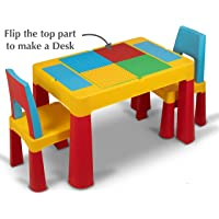 Home Canvas 2-IN-1 Unisex Kids Building Block & Study Table & Chair Set, Multicolor Table and Chair for Kids of 3 Years and Above