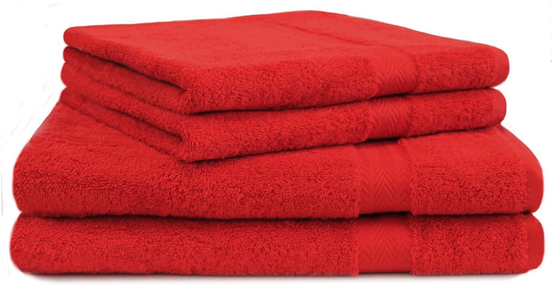 BETZ Lot de 4 Serviettes Set de 2 Serviettes de Bain 2 Serviettes de Toilette 100/% Coton Premium Color Orange