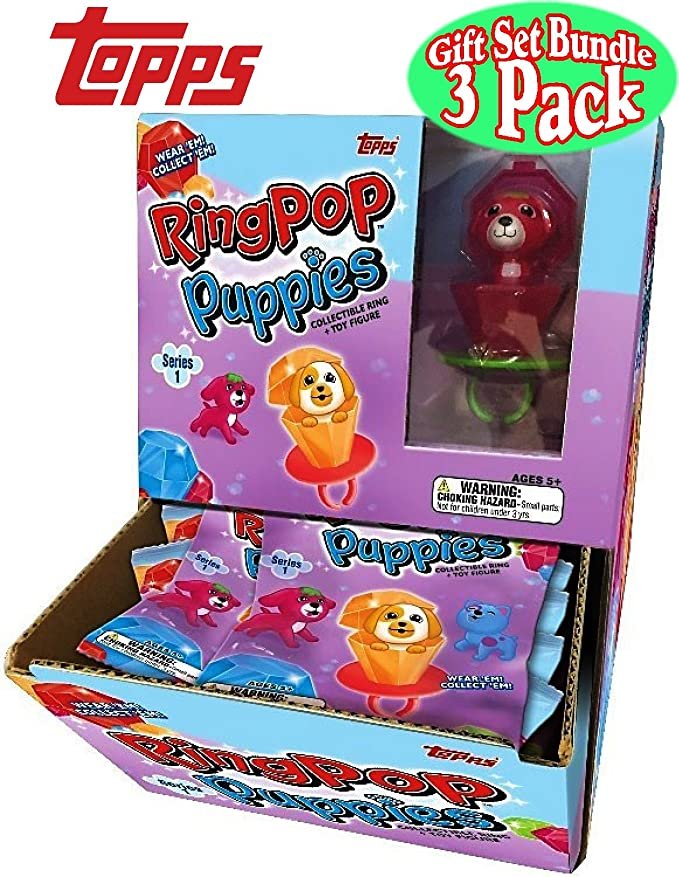 Topps Ring Pop Puppies Collectible Ring /& Puppy Series 1 Mystery 3 Pack Set RARE
