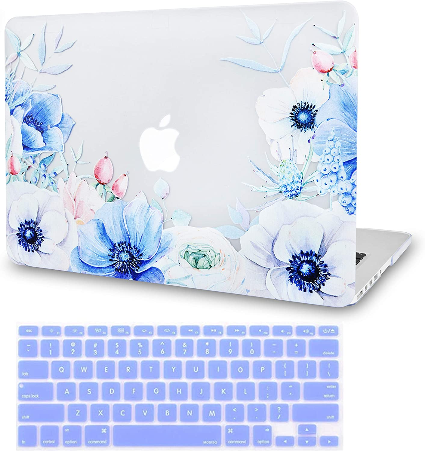 LuvCase2in1Laptop Case Compatible with MacBookAir 13 Inch (2010-2017) A1466/A1369 (No Touch ID)RubberizedPlasticHardShellCover &KeyboardCover (Blue and White Poppy)