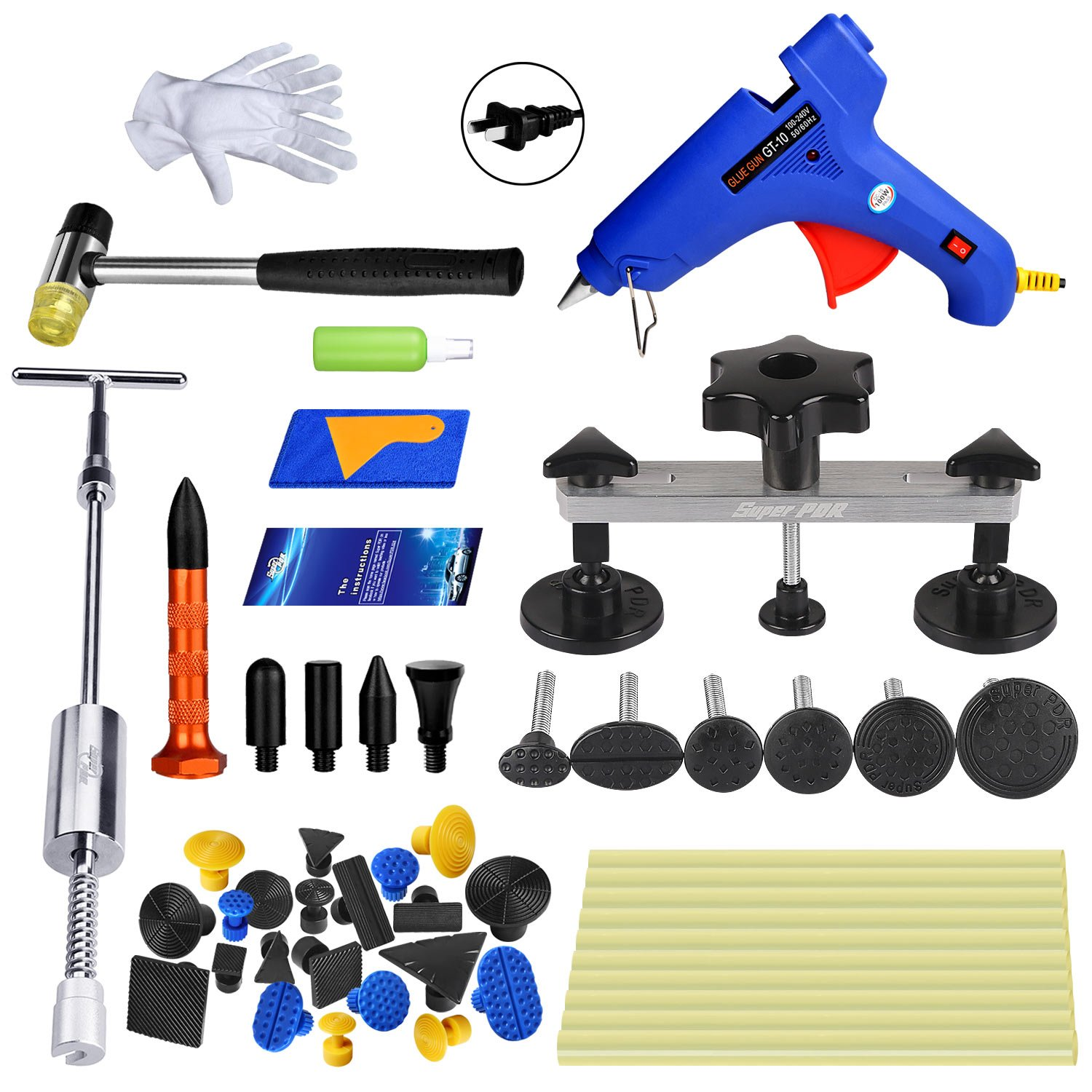 Super PDR 41pcs Car Auto Body Dent Puller Removal Repair Tool Kit Dent Lifter Bridge Puller Set for Car Hail Damage and Door Dings Repair by Super PDR (Image #1)