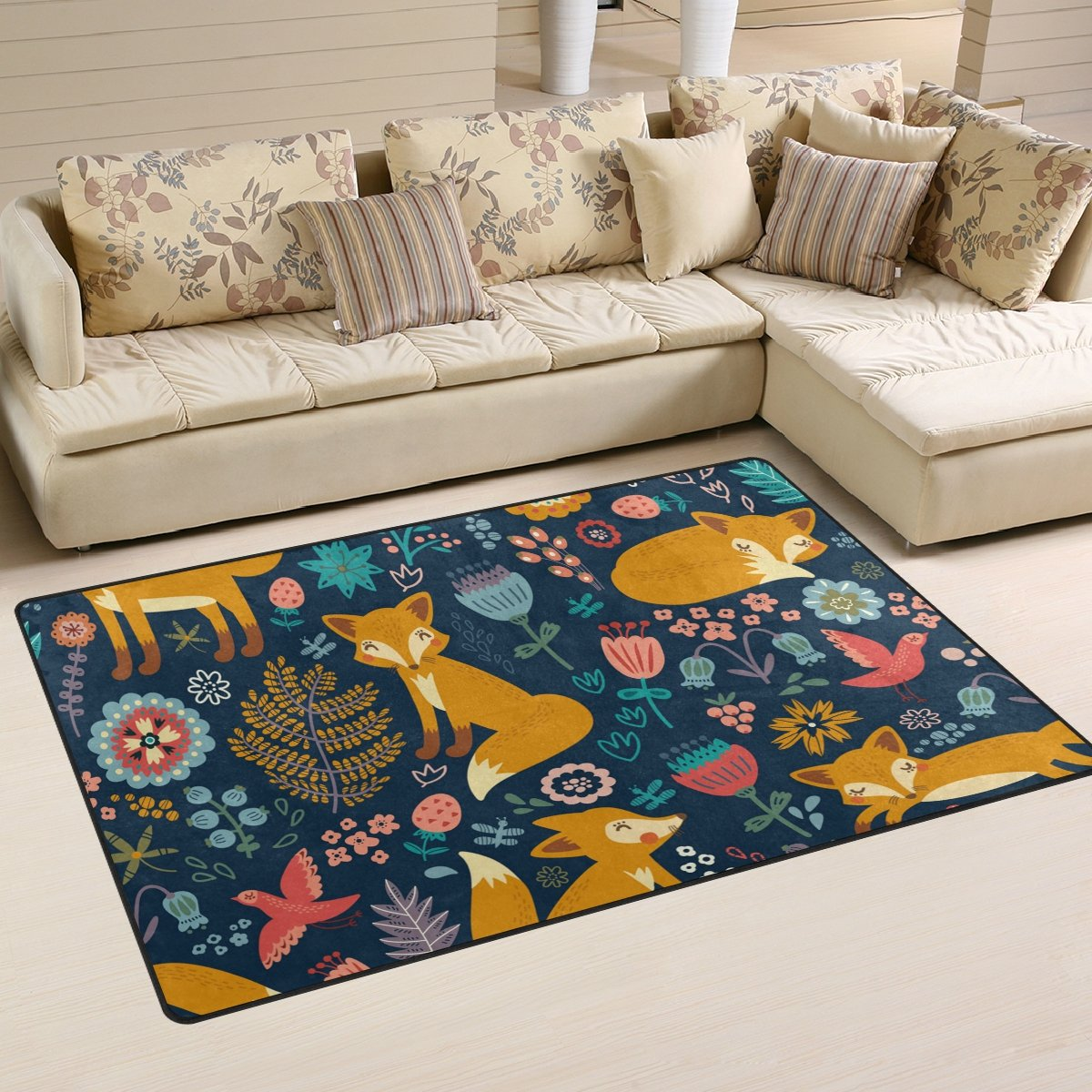 WellLee Area Rug,Cute Cartoon Forest Fox Floor Rug Non-slip Doormat for Living Dining Dorm Room Bedroom Decor 60x39 Inch